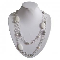 Pearl & Gemstone Necklace with Metal Loop