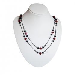 Burgundy / Black Agate Necklace